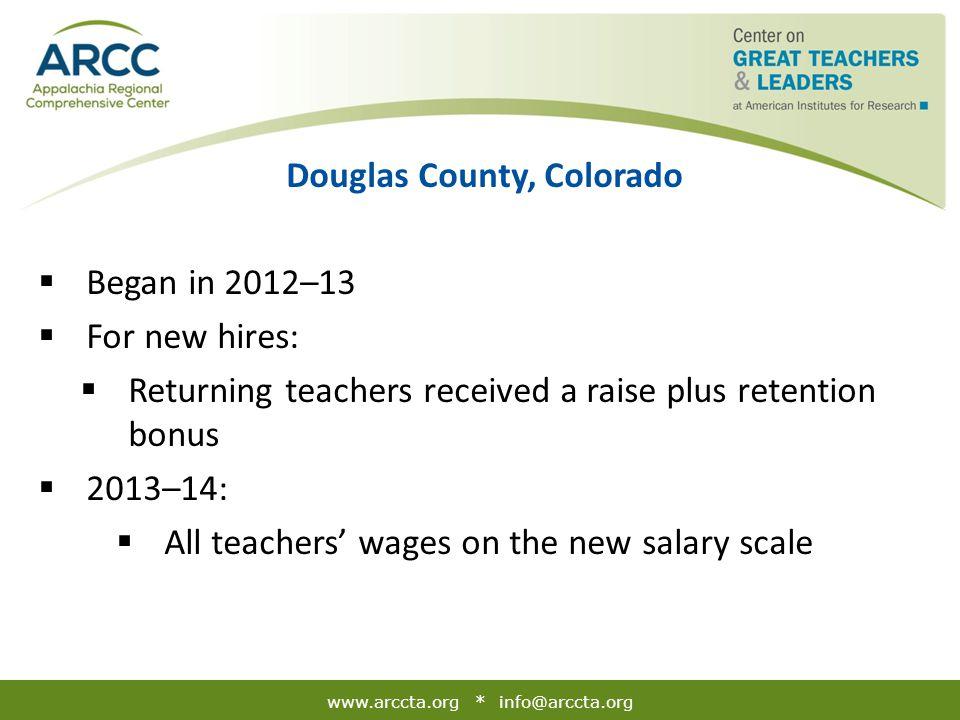 www.arccta.org * info@arccta.org Douglas County, Colorado  Began in 2012–13  For new hires:  Returning teachers received a raise plus retention bon