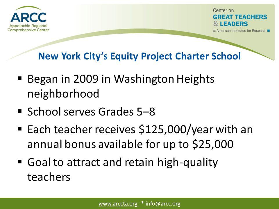 New York City's Equity Project Charter School  Began in 2009 in Washington Heights neighborhood  School serves Grades 5–8  Each teacher receives $1