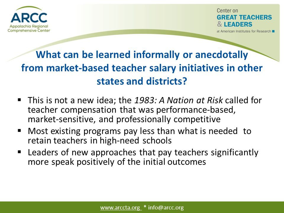 What can be learned informally or anecdotally from market-based teacher salary initiatives in other states and districts?  This is not a new idea; th