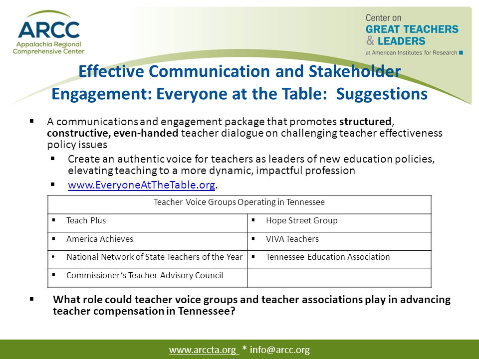 Effective Communication and Stakeholder Engagement: Everyone at the Table: Suggestions  A communications and engagement package that promotes structu