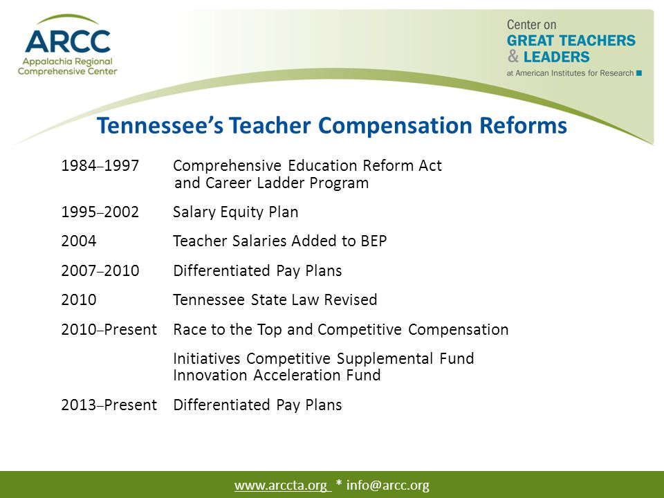 Tennessee's Teacher Salaries In 2013, the average classroom teacher salary was $47,563 (Tennessee Department of Education, 2013).