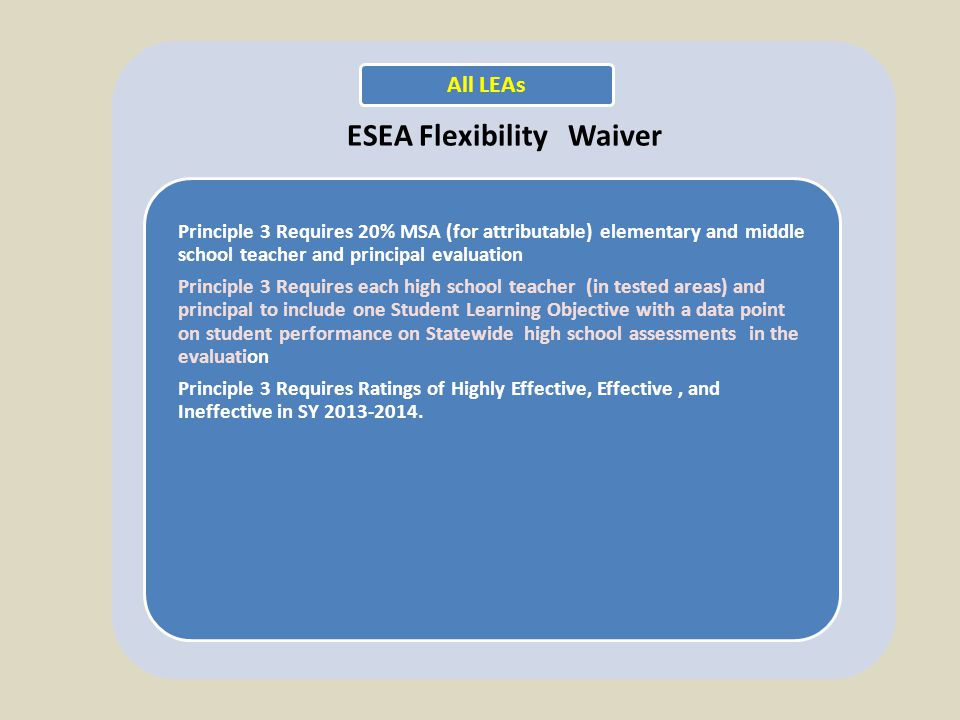 ESEA Flexibility Waiver Principle 3 Requires 20% MSA (for attributable) elementary and middle school teacher and principal evaluation Principle 3 Requires each high school teacher (in tested areas) and principal to include one Student Learning Objective with a data point on student performance on Statewide high school assessments in the evaluation Principle 3 Requires Ratings of Highly Effective, Effective, and Ineffective in SY 2013-2014.