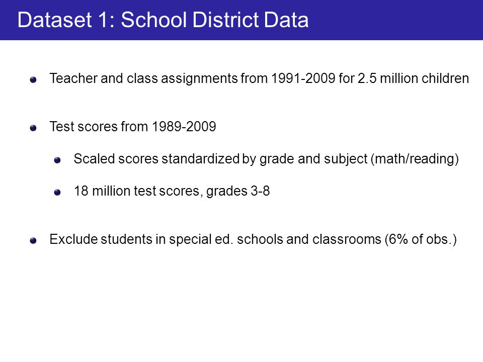 Teacher and class assignments from 1991-2009 for 2.5 million children Test scores from 1989-2009 Scaled scores standardized by grade and subject (math/reading) 18 million test scores, grades 3-8 Exclude students in special ed.