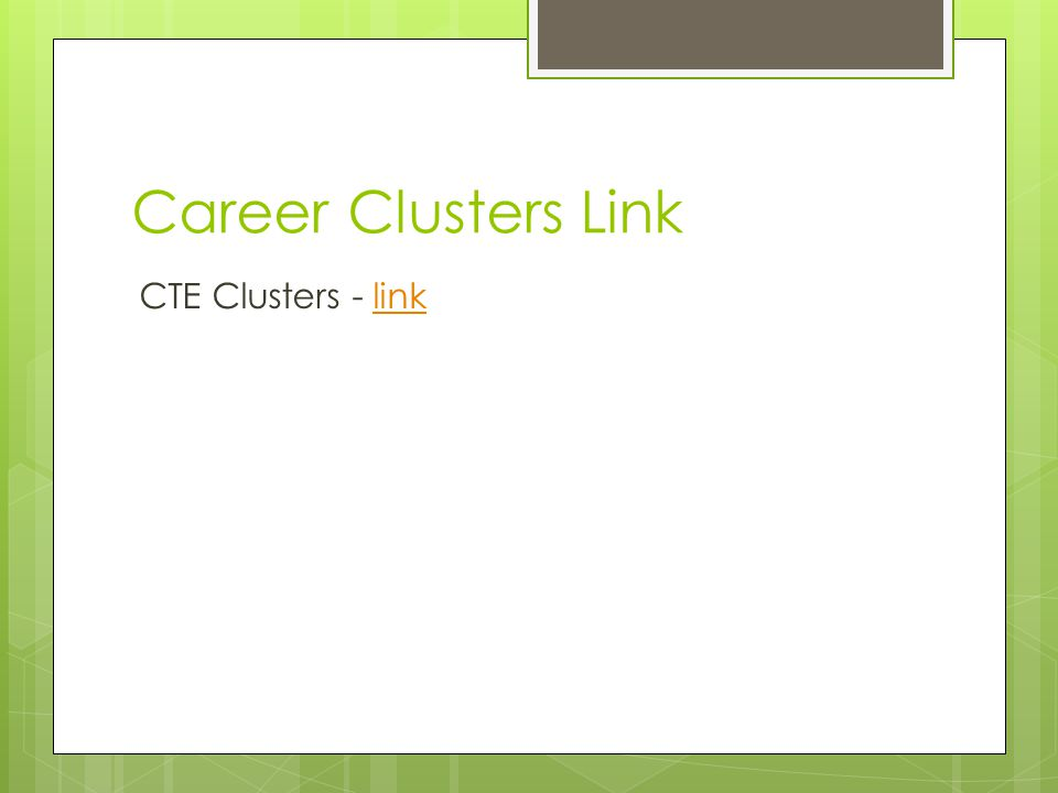 Career Clusters Link CTE Clusters - linklink