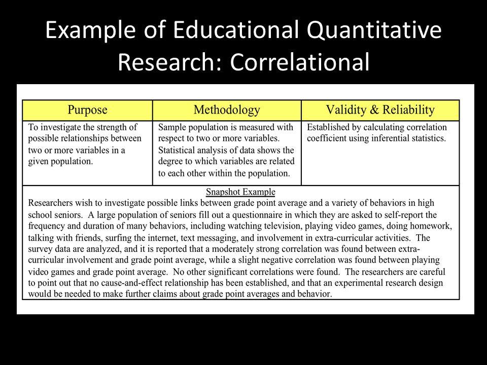 Example of Educational Quantitative Research: Correlational