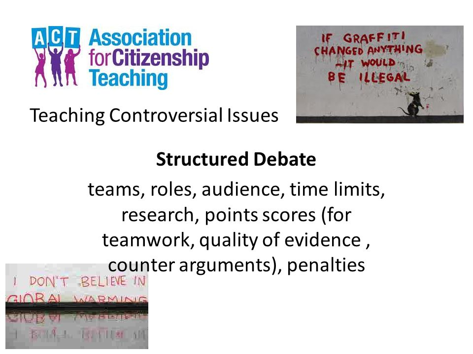 Teaching Controversial Issues Structured Debate teams, roles, audience, time limits, research, points scores (for teamwork, quality of evidence, count