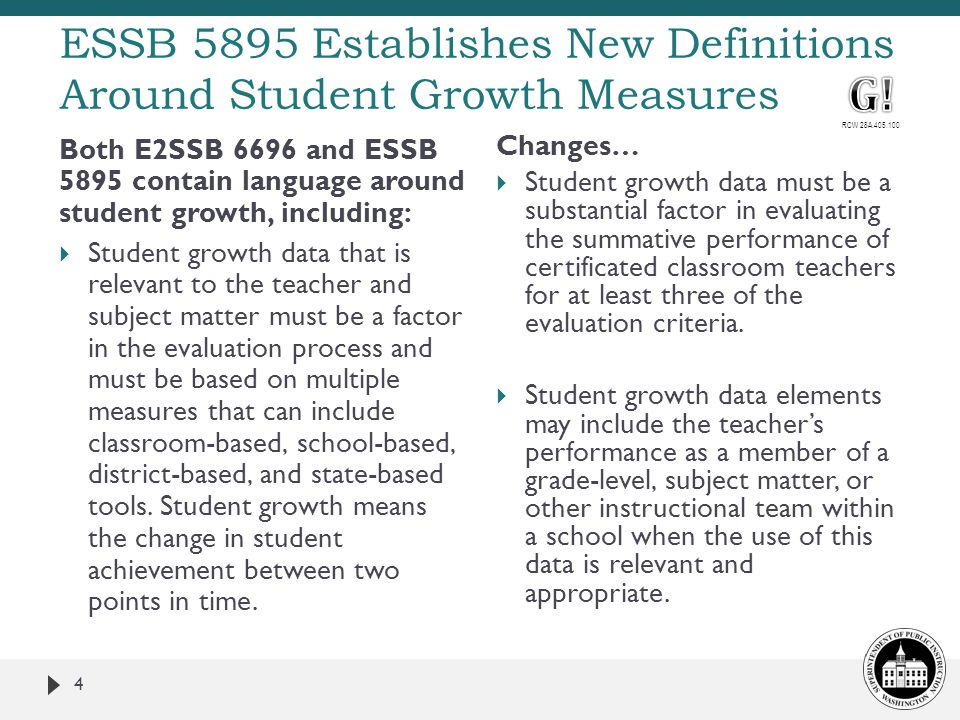 4 Both E2SSB 6696 and ESSB 5895 contain language around student growth, including:  Student growth data that is relevant to the teacher and subject m