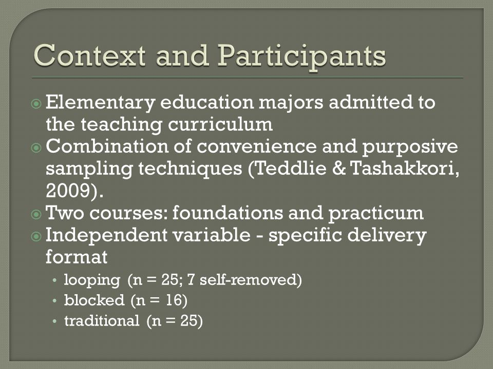  Elementary education majors admitted to the teaching curriculum  Combination of convenience and purposive sampling techniques (Teddlie & Tashakkori, 2009).