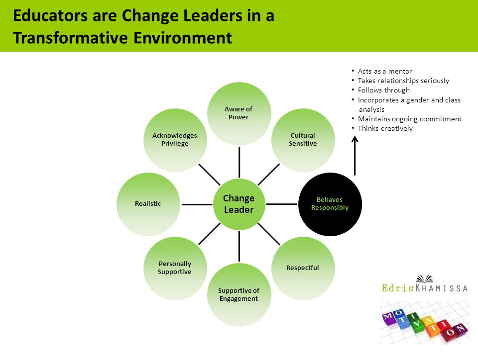 Acts as a mentor Takes relationships seriously Follows through Incorporates a gender and class analysis Maintains ongoing commitment Thinks creatively Educators are Change Leaders in a Transformative Environment