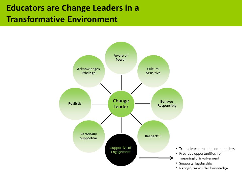 Trains learners to become leaders Provides opportunities for meaningful involvement Supports leadership Recognizes insider knowledge Educators are Change Leaders in a Transformative Environment
