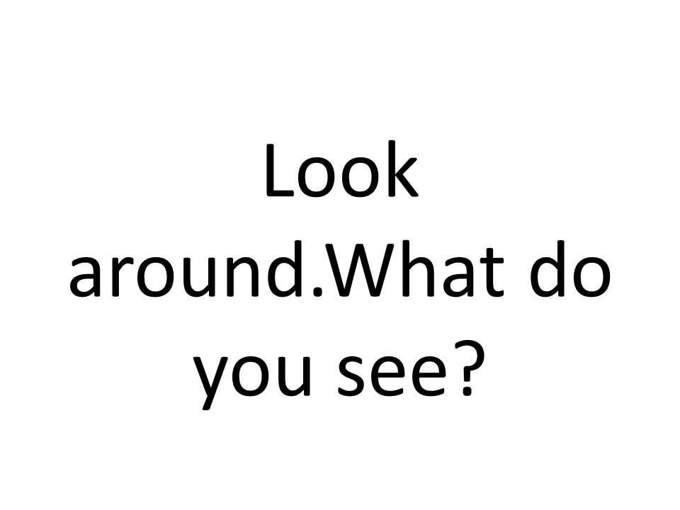 Look around.What do you see?
