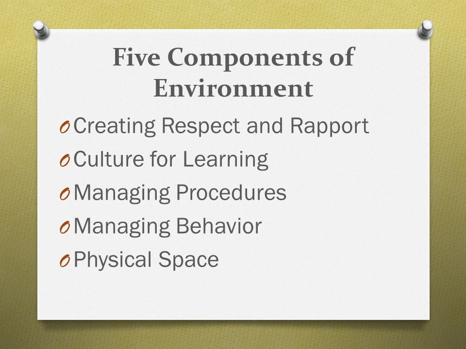Five Components of Environment O Creating Respect and Rapport O Culture for Learning O Managing Procedures O Managing Behavior O Physical Space