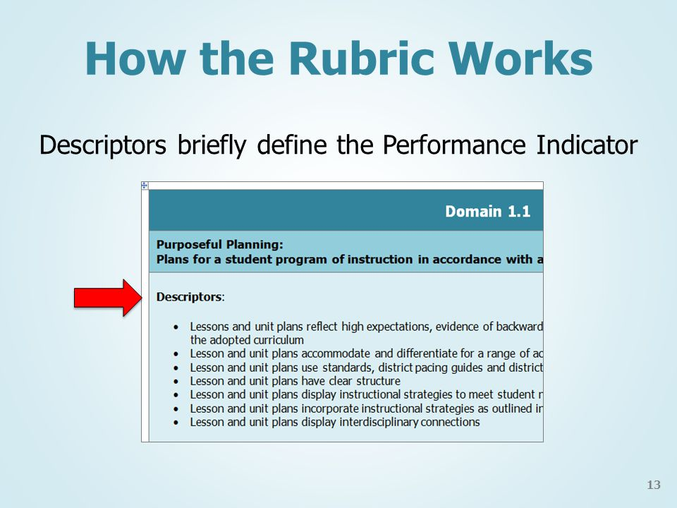 How the Rubric Works Descriptors briefly define the Performance Indicator 13