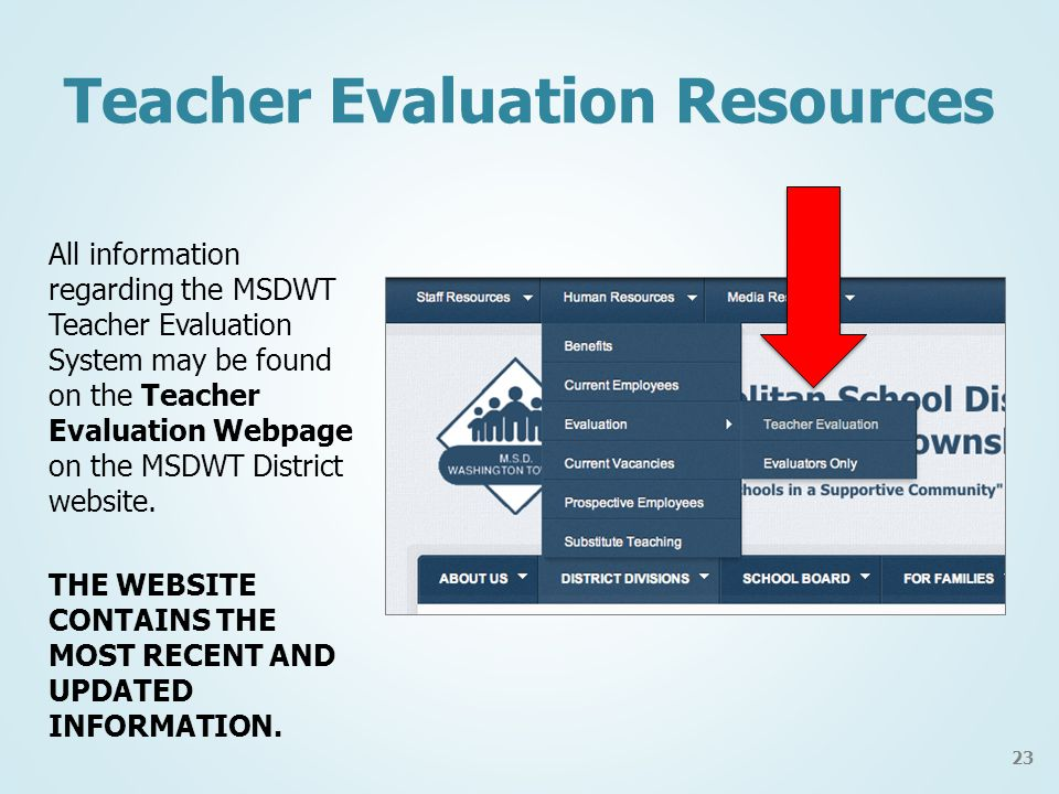 Teacher Evaluation Resources All information regarding the MSDWT Teacher Evaluation System may be found on the Teacher Evaluation Webpage on the MSDWT District website.