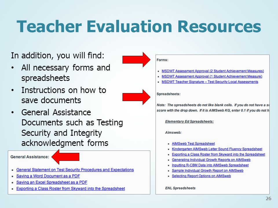 In addition, you will find: All necessary forms and spreadsheets Instructions on how to save documents General Assistance Documents such as Testing Security and Integrity acknowledgment forms Teacher Evaluation Resources 26
