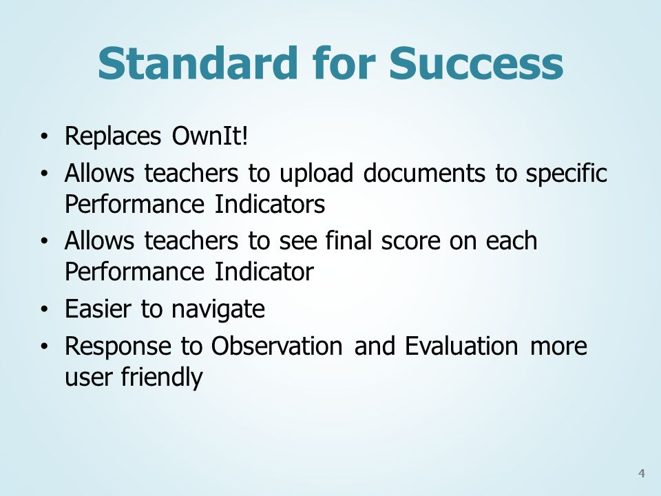 Standard for Success Replaces OwnIt.