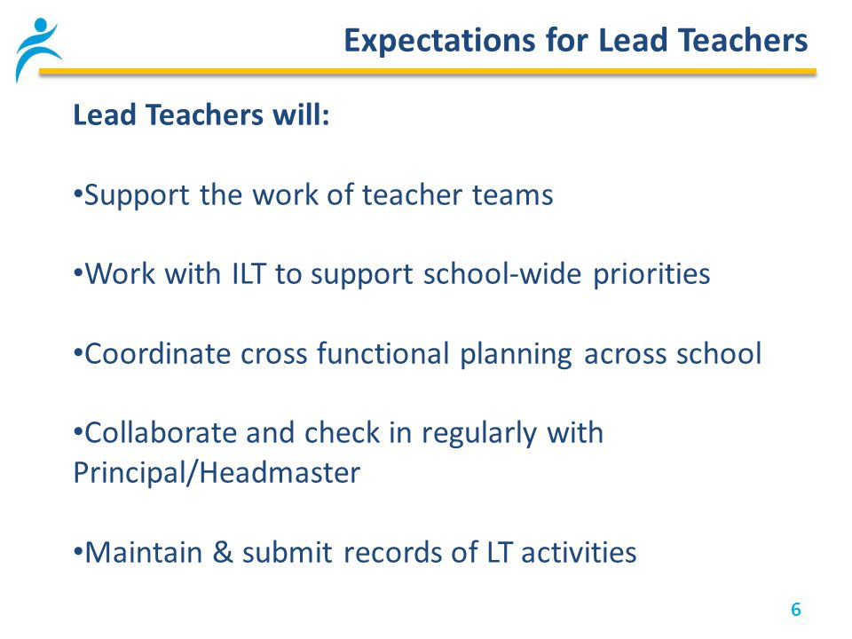 6 Expectations for Lead Teachers Lead Teachers will: Support the work of teacher teams Work with ILT to support school-wide priorities Coordinate cross functional planning across school Collaborate and check in regularly with Principal/Headmaster Maintain & submit records of LT activities
