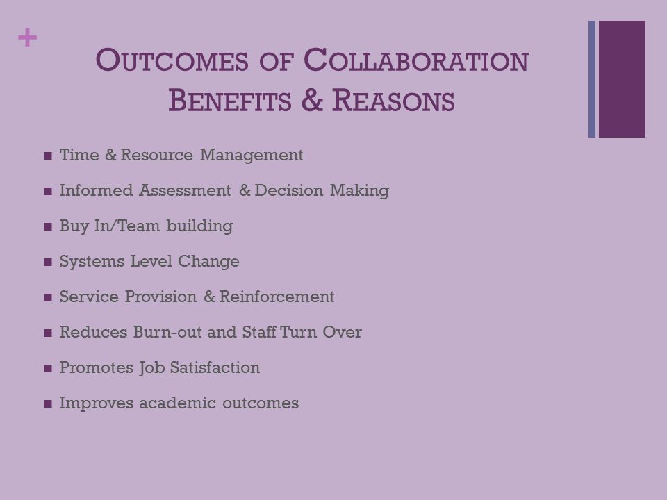 + O UTCOMES OF C OLLABORATION B ENEFITS & R EASONS Time & Resource Management Informed Assessment & Decision Making Buy In/Team building Systems Level Change Service Provision & Reinforcement Reduces Burn-out and Staff Turn Over Promotes Job Satisfaction Improves academic outcomes