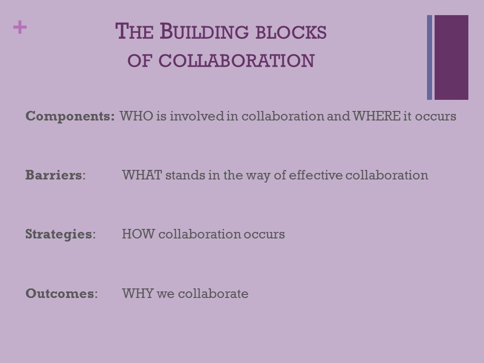 + T HE B UILDING BLOCKS OF COLLABORATION Components: WHO is involved in collaboration and WHERE it occurs Barriers: WHAT stands in the way of effective collaboration Strategies: HOW collaboration occurs Outcomes: WHY we collaborate