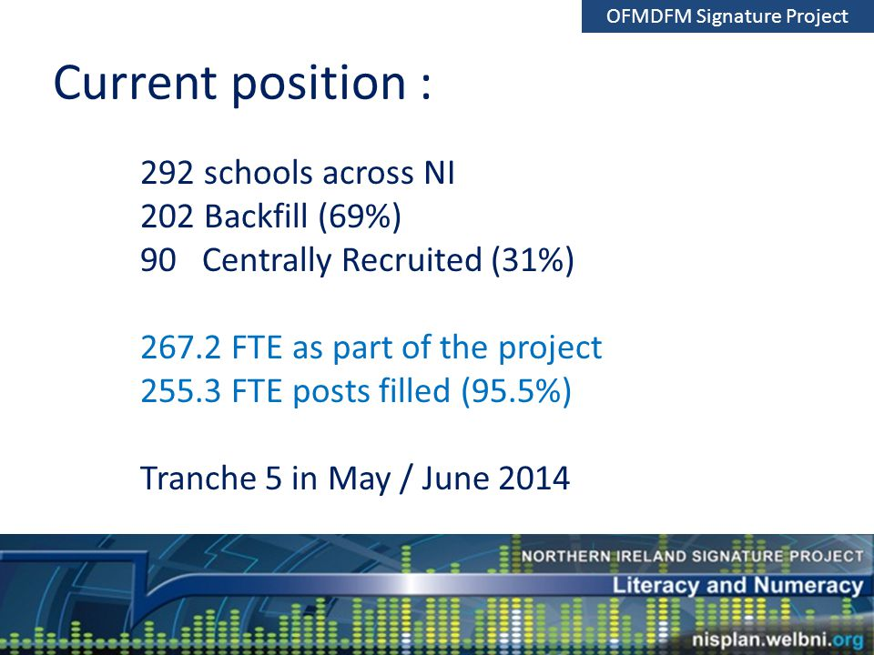 Current position : 292 schools across NI 202 Backfill (69%) 90 Centrally Recruited (31%) 267.2 FTE as part of the project 255.3 FTE posts filled (95.5%) Tranche 5 in May / June 2014 OFMDFM Signature Project