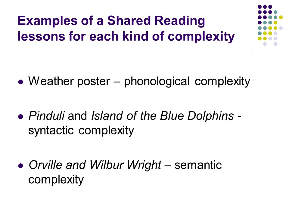 Examples of a Shared Reading lessons for each kind of complexity Weather poster – phonological complexity Pinduli and Island of the Blue Dolphins - sy