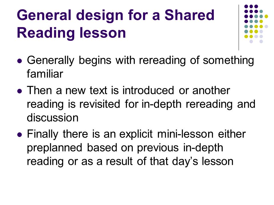 General design for a Shared Reading lesson Generally begins with rereading of something familiar Then a new text is introduced or another reading is r