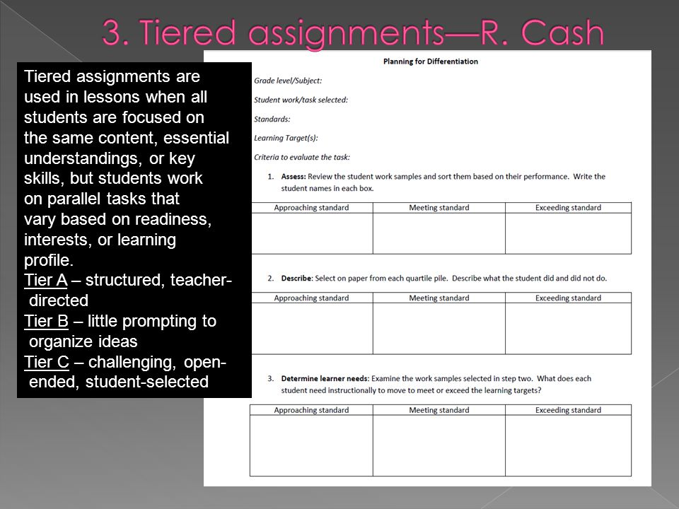 Tiered assignments are used in lessons when all students are focused on the same content, essential understandings, or key skills, but students work on parallel tasks that vary based on readiness, interests, or learning profile.