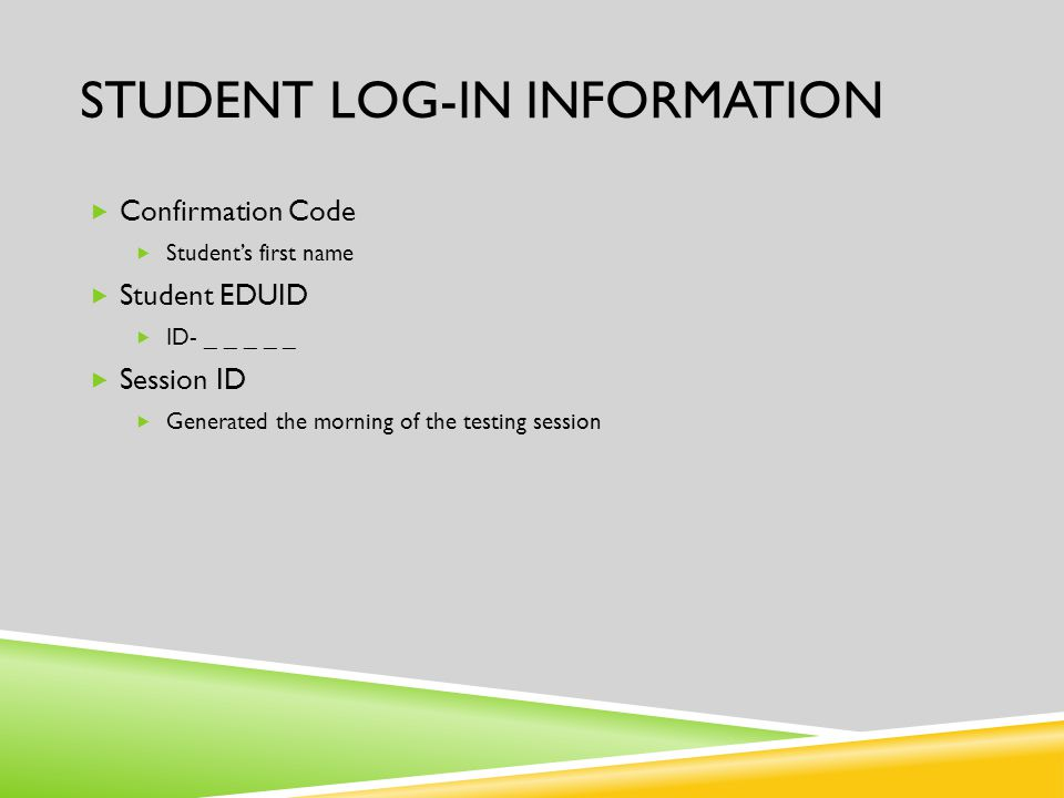 STUDENT LOG-IN INFORMATION  Confirmation Code  Student's first name  Student EDUID  ID- _ _ _ _ _  Session ID  Generated the morning of the test
