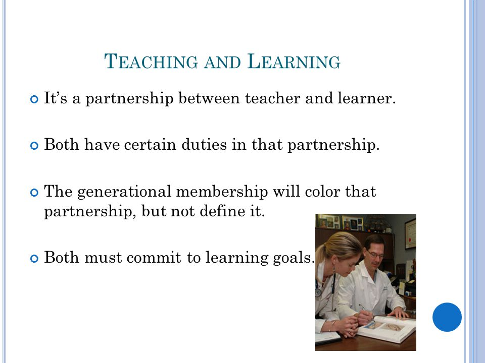 T EACHING AND L EARNING It's a partnership between teacher and learner.