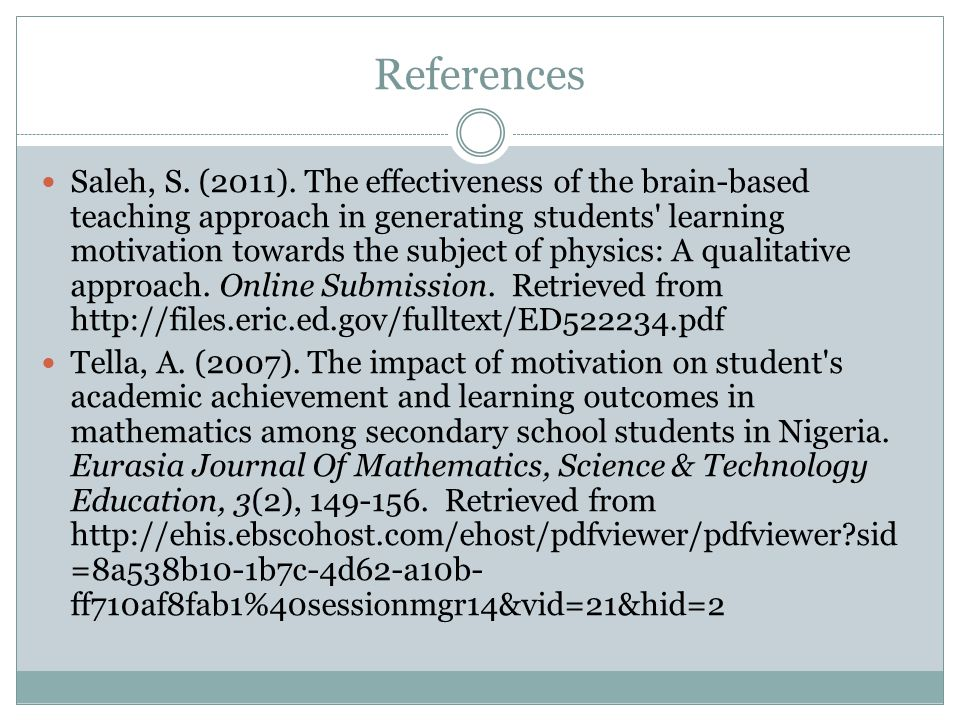 References Oche, E. (2012). Assessing the effect of prompt feedback as a motivational strategy on students' achievement in secondary school mathematic