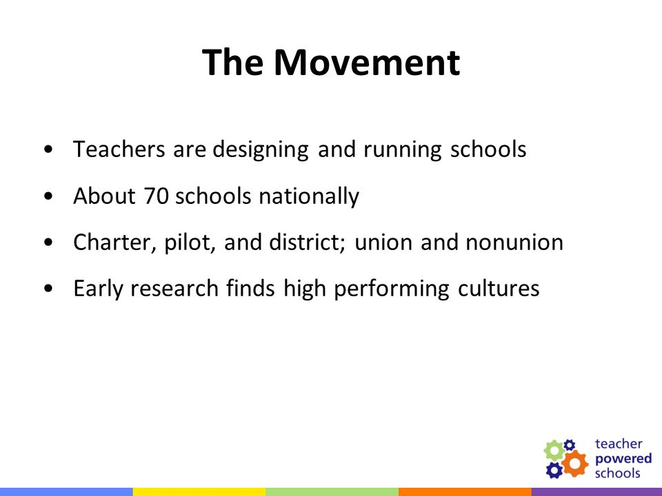 Teachers are designing and running schools About 70 schools nationally Charter, pilot, and district; union and nonunion Early research finds high perf