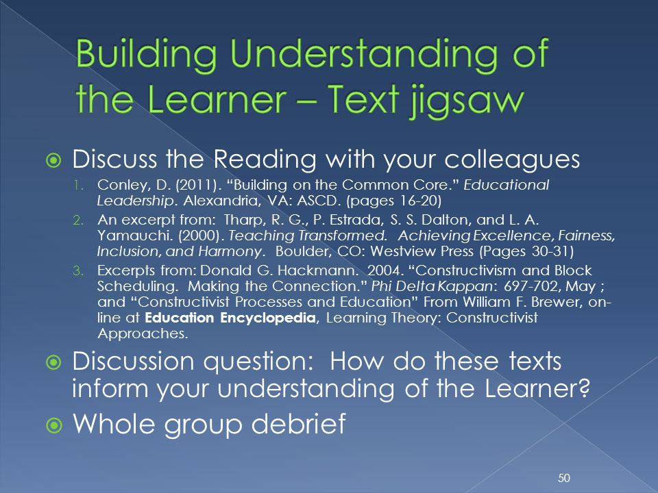 " Discuss the Reading with your colleagues 1. Conley, D. (2011). ""Building on the Common Core."" Educational Leadership. Alexandria, VA: ASCD. (pages 1"