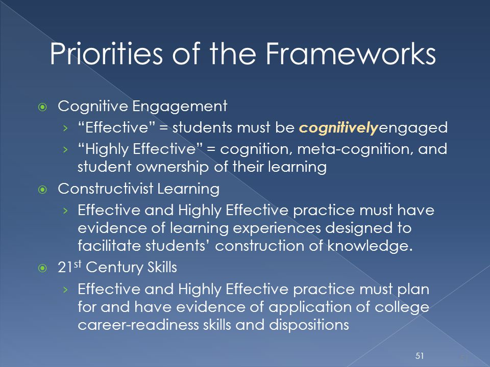 "Priorities of the Frameworks  Cognitive Engagement › ""Effective"" = students must be cognitively engaged › ""Highly Effective"" = cognition, meta-cognit"