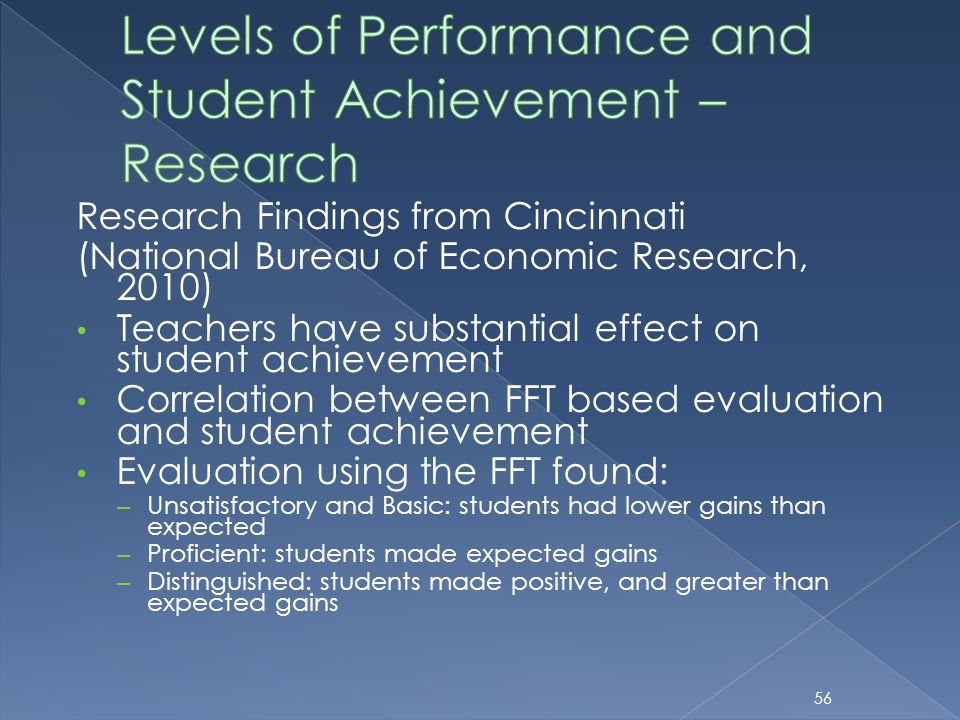 Research Findings from Cincinnati (National Bureau of Economic Research, 2010) Teachers have substantial effect on student achievement Correlation bet