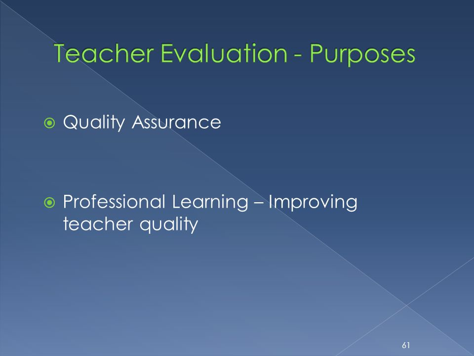  Quality Assurance  Professional Learning – Improving teacher quality 61
