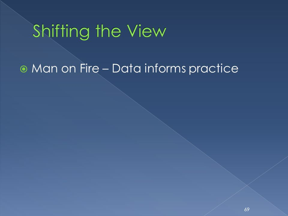  Man on Fire – Data informs practice 69