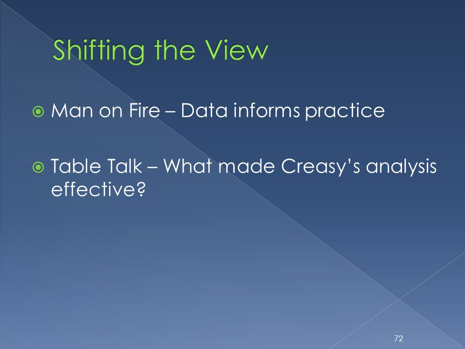  Man on Fire – Data informs practice  Table Talk – What made Creasy's analysis effective? 72