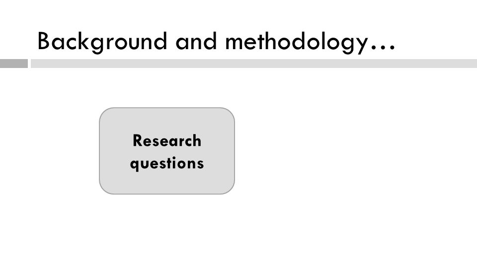 Background and methodology… Research questions