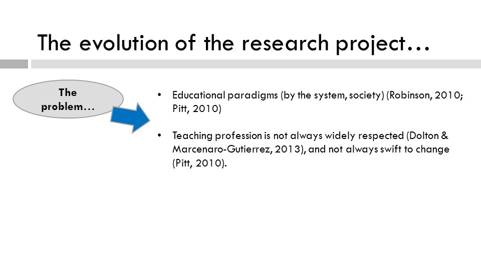 The evolution of the research project… The problem… Educational paradigms (by the system, society) (Robinson, 2010; Pitt, 2010) Teaching profession is not always widely respected (Dolton & Marcenaro-Gutierrez, 2013), and not always swift to change (Pitt, 2010).