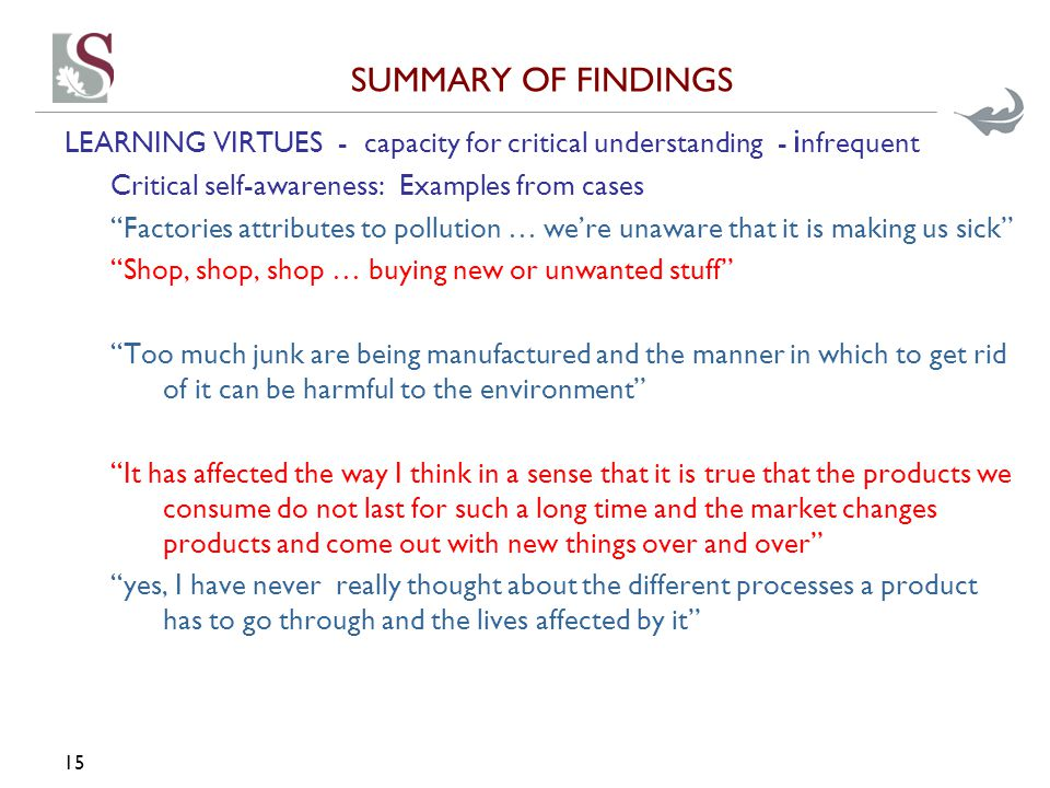 """SUMMARY OF FINDINGS LEARNING VIRTUES - capacity for critical understanding - i nfrequent Critical self-awareness: Examples from cases """"Factories attri"""