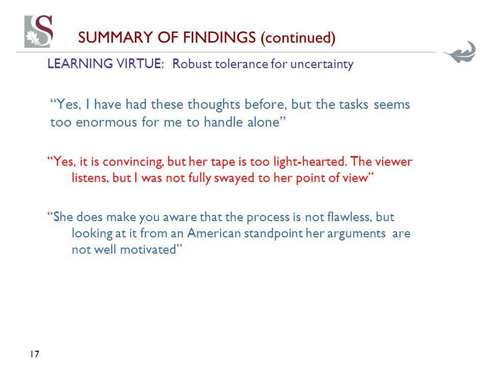 SUMMARY OF FINDINGS (continued) LEARNING VIRTUE: Robust tolerance for uncertainty Yes, I have had these thoughts before, but the tasks seems too enormous for me to handle alone Yes, it is convincing, but her tape is too light-hearted.