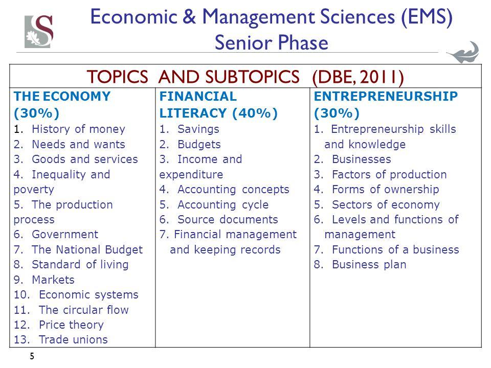 5 TOPICS AND SUBTOPICS (DBE, 2011) THE ECONOMY (30%) 1.