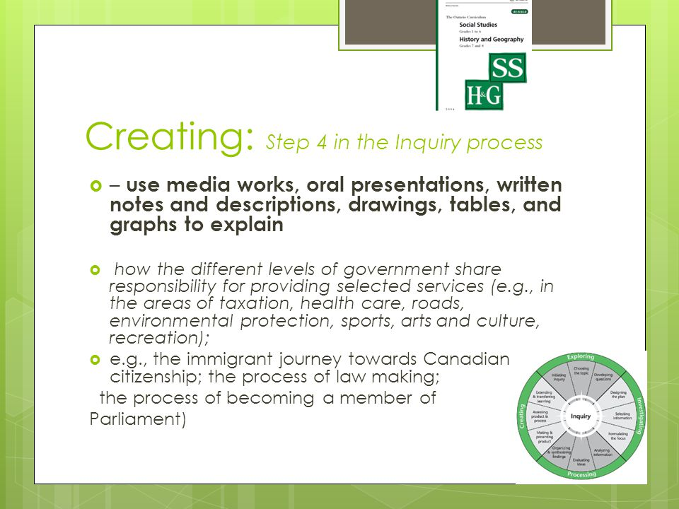 Creating: Step 4 in the Inquiry process  – use media works, oral presentations, written notes and descriptions, drawings, tables, and graphs to explain  how the different levels of government share responsibility for providing selected services (e.g., in the areas of taxation, health care, roads, environmental protection, sports, arts and culture, recreation);  e.g., the immigrant journey towards Canadian citizenship; the process of law making; the process of becoming a member of Parliament)