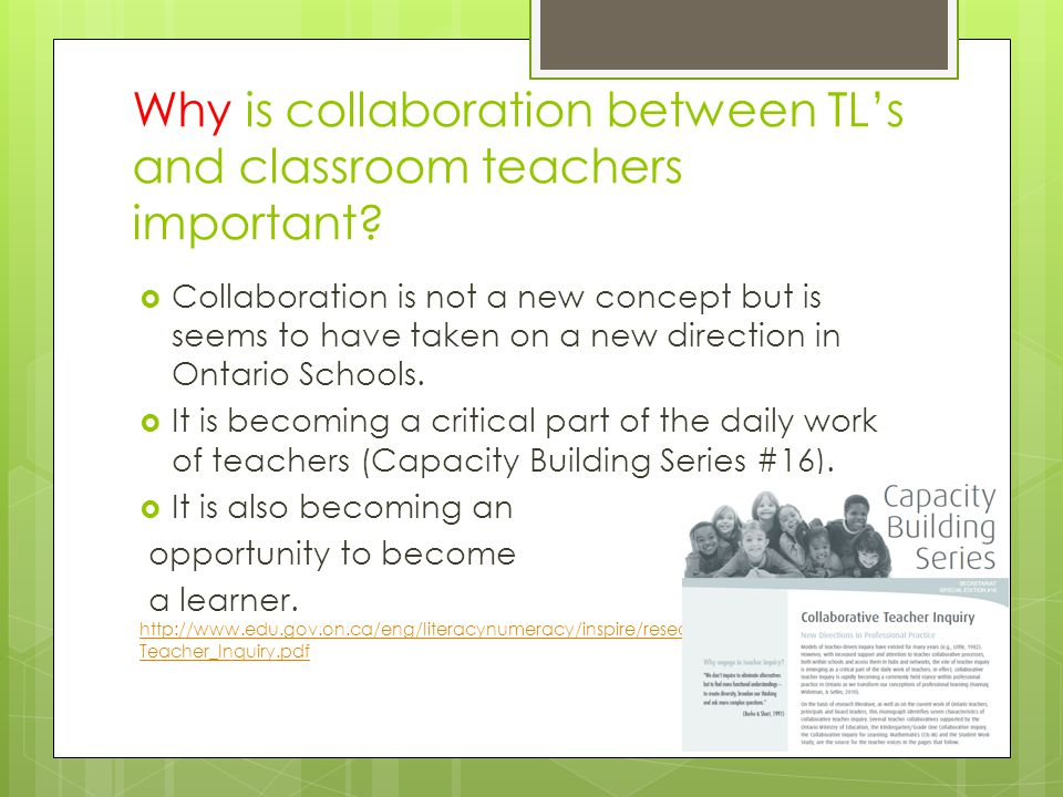 Why is collaboration between TL's and classroom teachers important.