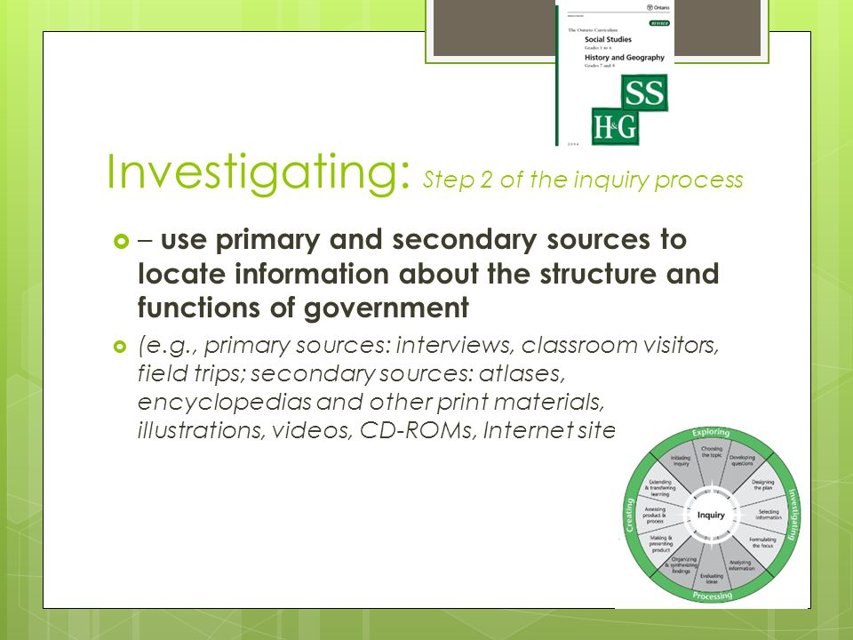 Investigating: Step 2 of the inquiry process  – use primary and secondary sources to locate information about the structure and functions of government  (e.g., primary sources: interviews, classroom visitors, field trips; secondary sources: atlases, encyclopedias and other print materials, illustrations, videos, CD-ROMs, Internet sites);