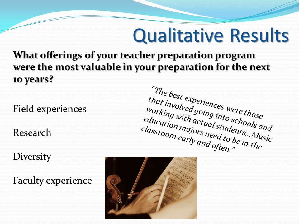 What offerings of your teacher preparation program were the most valuable in your preparation for the next 10 years.