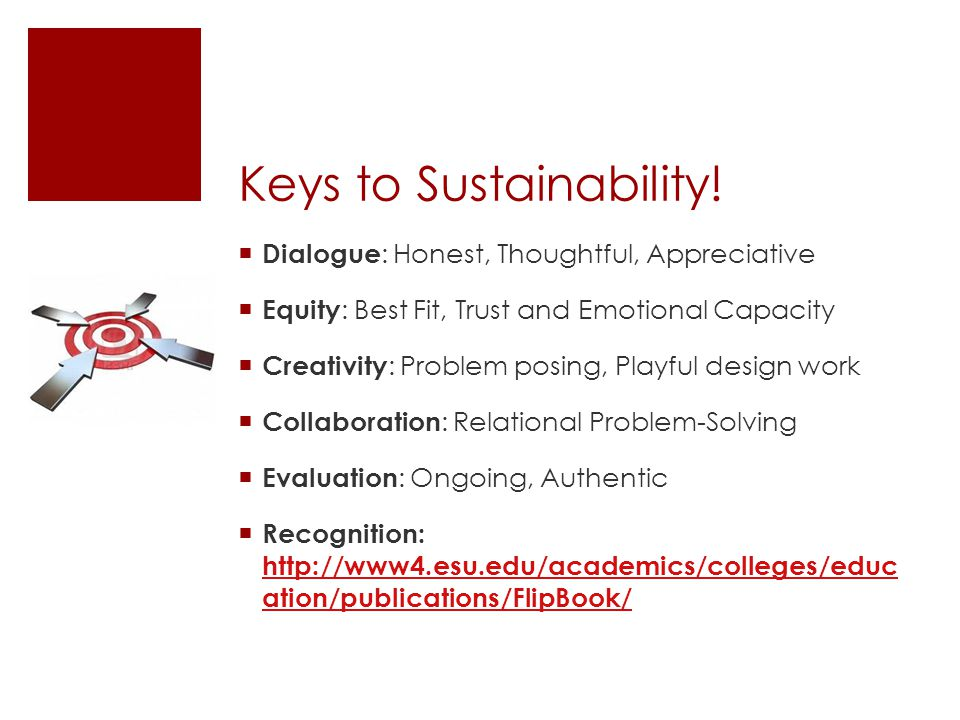Keys to Sustainability!  Dialogue : Honest, Thoughtful, Appreciative  Equity : Best Fit, Trust and Emotional Capacity  Creativity : Problem posing,