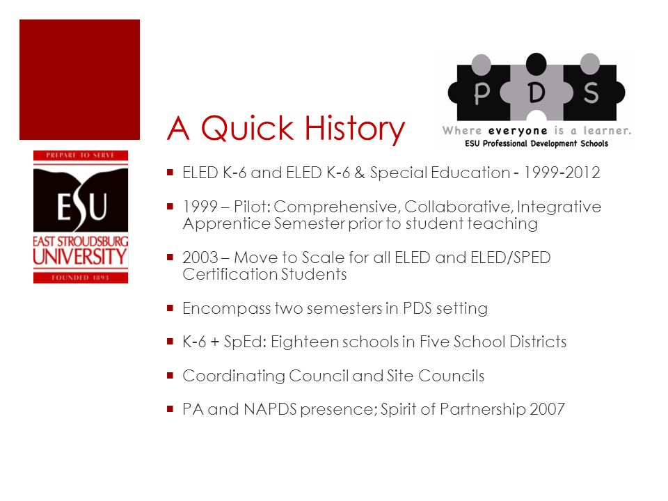 A Quick History  ELED K-6 and ELED K-6 & Special Education - 1999-2012  1999 – Pilot: Comprehensive, Collaborative, Integrative Apprentice Semester