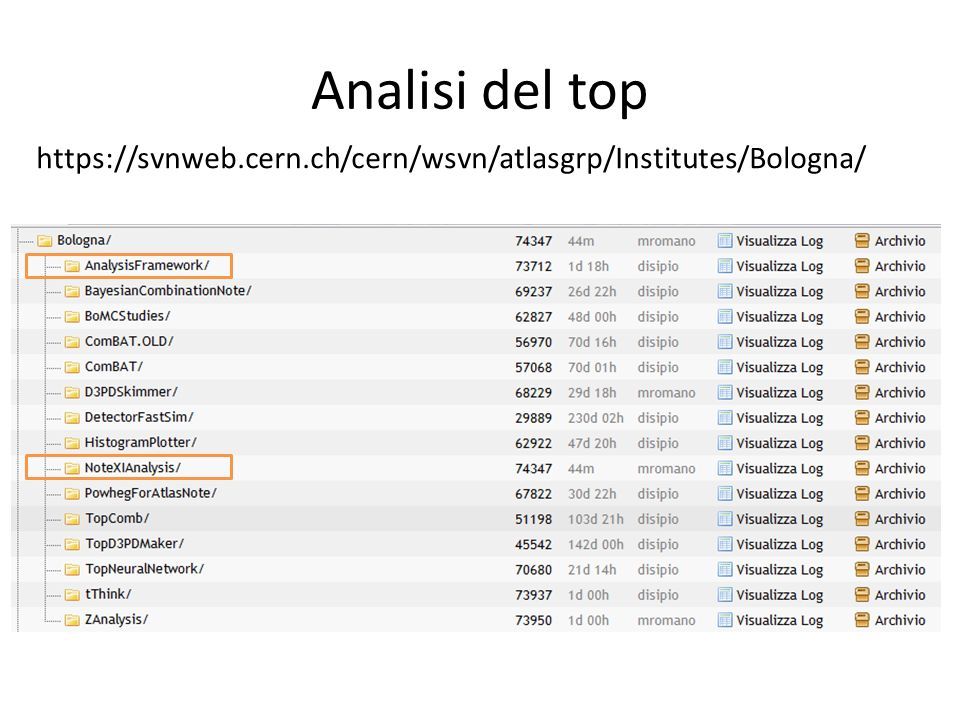Analisi del top https://svnweb.cern.ch/cern/wsvn/atlasgrp/Institutes/Bologna/