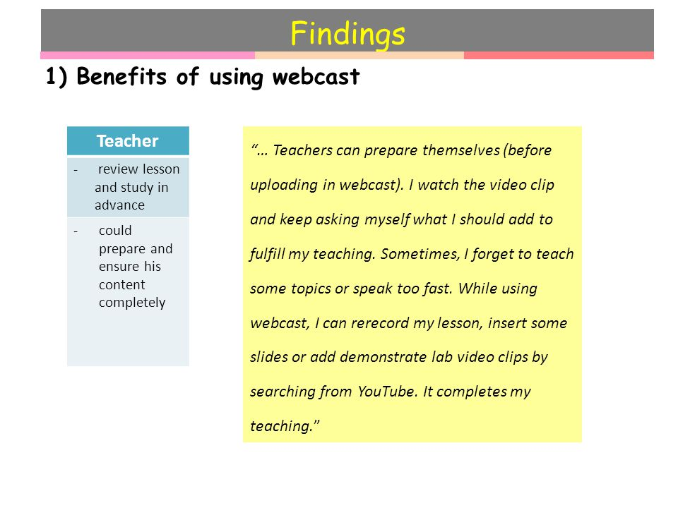 Findings 1) Benefits of using webcast Teacher - review lesson and study in advance -could prepare and ensure his content completely … Teachers can prepare themselves (before uploading in webcast).